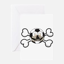 Angry Soccer Ball Crossbones Greeting Card