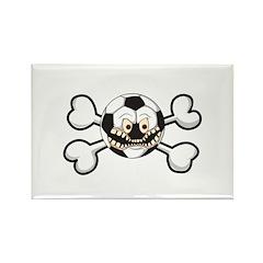 Angry Soccer Ball Crossbones Rectangle Magnet
