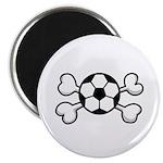 Soccer Ball Crossbones Design Magnet