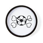 Soccer Ball Crossbones Design Wall Clock