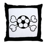 Soccer Ball Crossbones Design Throw Pillow