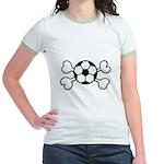 Soccer Ball Crossbones Design Jr. Ringer T-Shirt