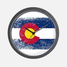 Colorado State Flag Grunge Wall Clock