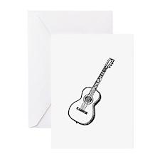 Black Woodcut Guitar Greeting Cards (Pk of 10)