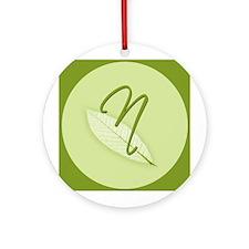 Leaves Monogram N Ornament (Round)
