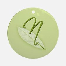 Leaves Monogram N Ornament (Round)