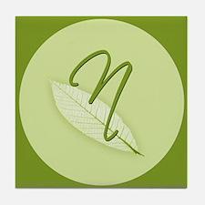 Leaves Monogram N Tile Coaster