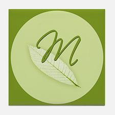 Leaves Monogram M Tile Coaster
