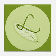 Leaves Monogram L Tile Coaster