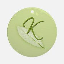 Leaves Monogram K Ornament (Round)
