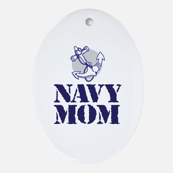 Unique Navy mom Oval Ornament