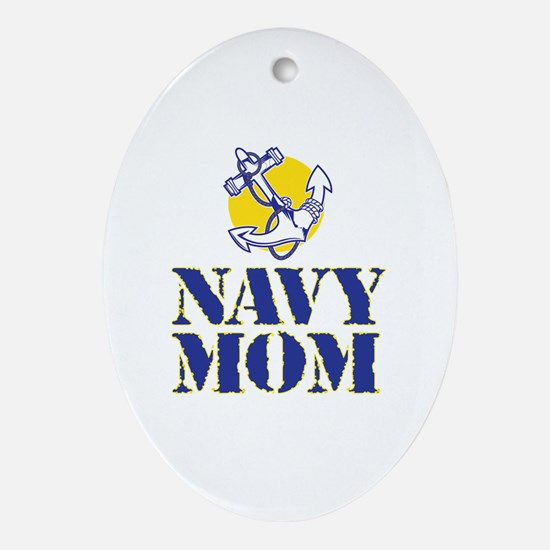 Cute Navy mom Oval Ornament