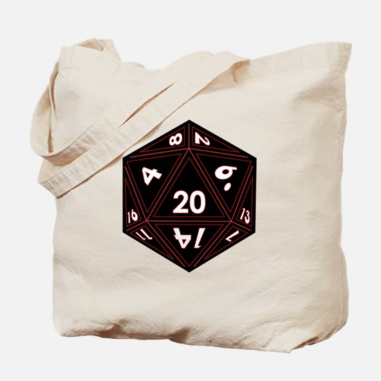 D20 Black with Red Trim Tote Bag