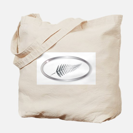 New Zealand Silver Fern Oval Button Tote Bag