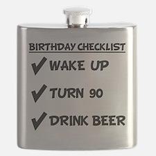 90th Birthday Checklist Drink Beer Flask