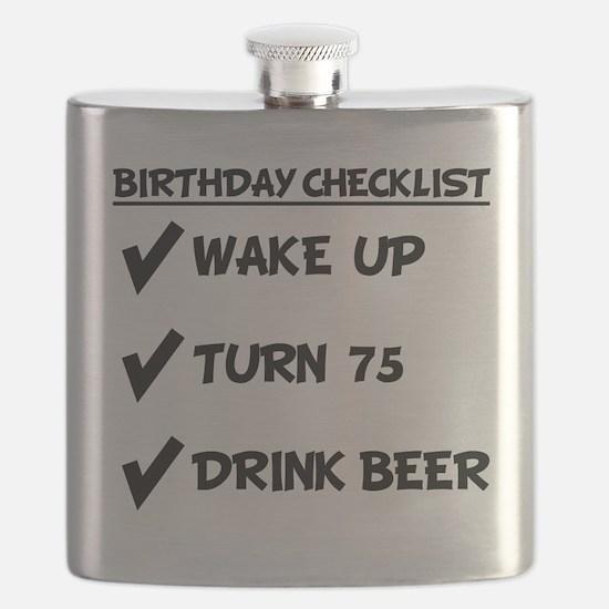 75th Birthday Checklist Drink Beer Flask