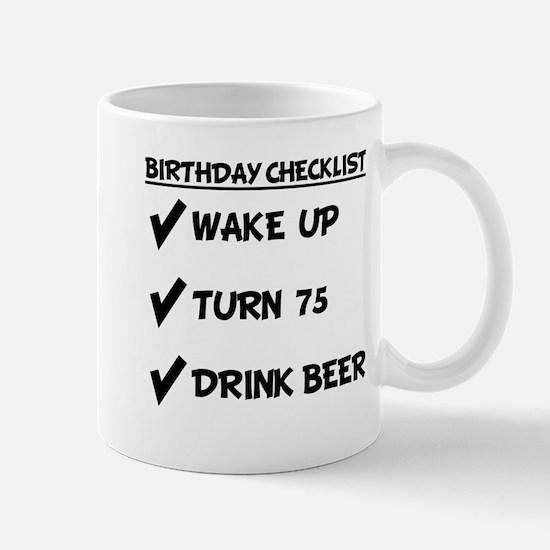 75th Birthday Checklist Drink Beer Mugs