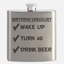 40th Birthday Checklist Drink Beer Flask