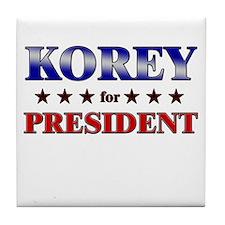 KOREY for president Tile Coaster