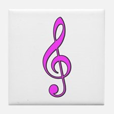Retro Hot Pink Treble Clef Tile Coaster