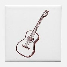 Woodcut Brown Guitar Tile Coaster