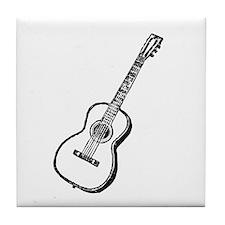 Woodcut Guitar Tile Coaster