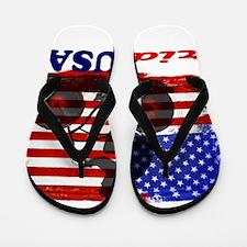 ride USA American Flag Background Flip Flops