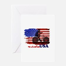 ride USA American Flag Background Greeting Cards
