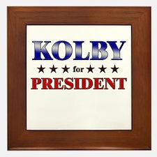 KOLBY for president Framed Tile