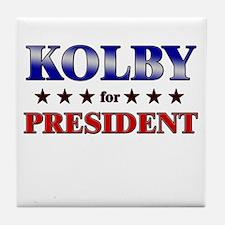 KOLBY for president Tile Coaster