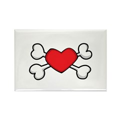 Red Heart Crossbones Design Rectangle Magnet