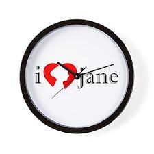I Love Jane Silhouette Wall Clock