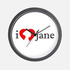 I Love Jane Silhouette Wall Clock