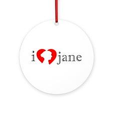 I Love Jane Silhouette Ornament (Round)