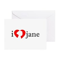 I Love Jane Silhouette Greeting Cards (Pk of 10)