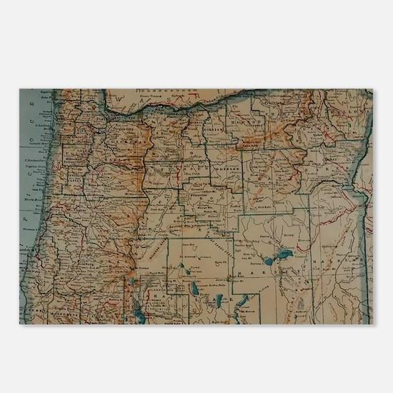 Unique Map oregon Postcards (Package of 8)