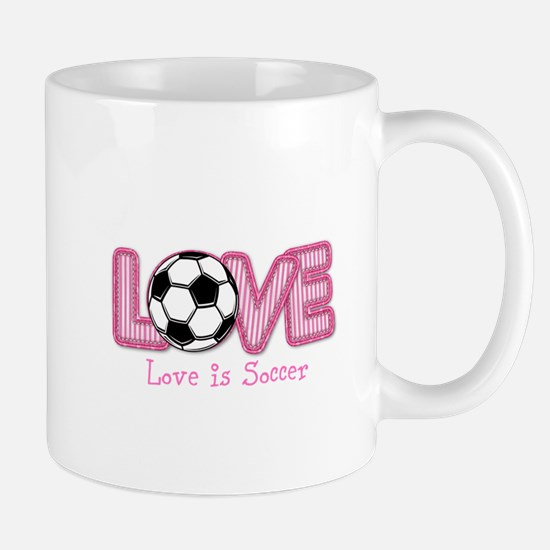 Love is Soccer: Pink Personalize Mugs