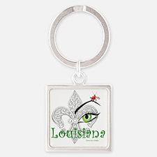 See Louisiana Square Keychains
