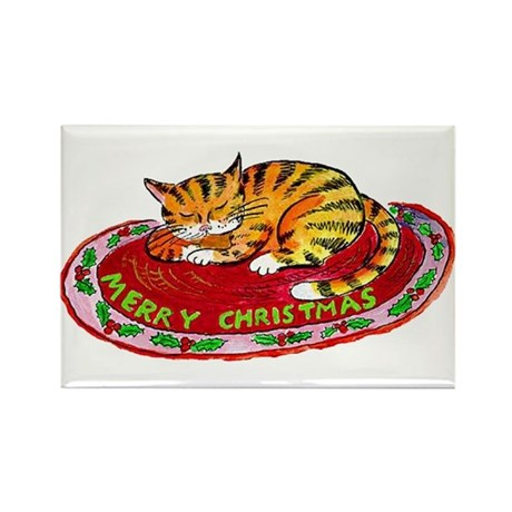Christmas Kitty Rectangle Magnet