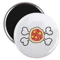 "Funny Pizza & Crossbones Design 2.25"" Magnet (10 p"