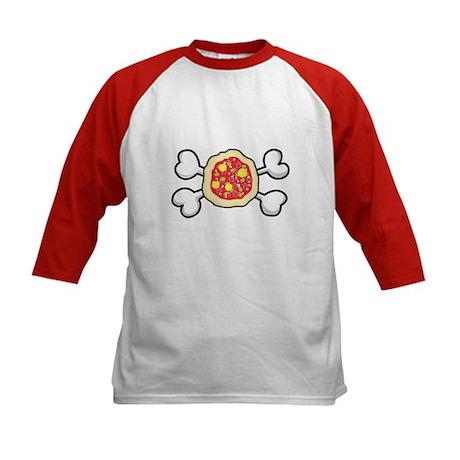Funny Pizza & Crossbones Design Kids Baseball Jers
