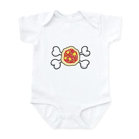 Funny Pizza & Crossbones Design Infant Bodysuit