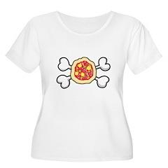 Funny Pizza & Crossbones Design T-Shirt