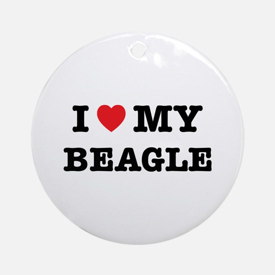 I Heart My Beagle Round Ornament