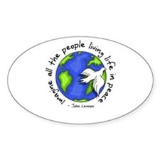 Imagine - World - Live in Peace Oval Decal