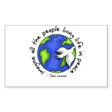 Imagine - World - Live in Peace Sticker (Rectangul