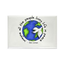 Imagine - World - Live in Peace Rectangle Magnet