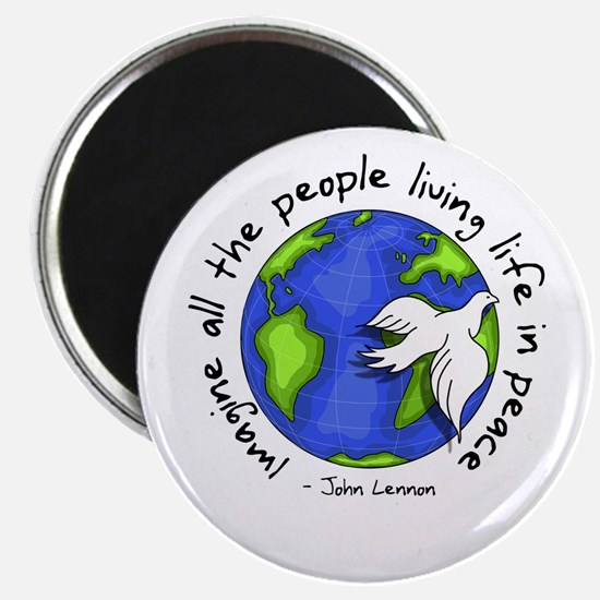 """Imagine - World - Live in Peace 2.25"""" Magnet"""