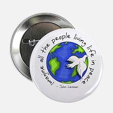 """Imagine - World - Live in Peace 2.25"""" Button"""