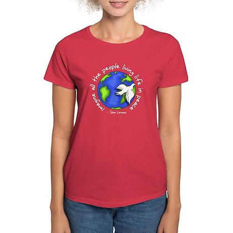 Imagine - World - Live in Peace Women's Dark T-Shi